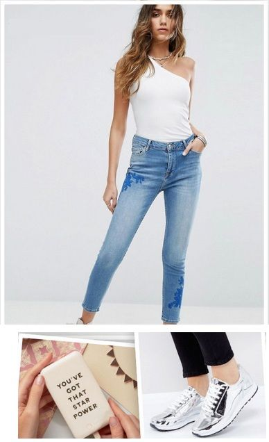 White one shoulder top+embroidered skinny jeans+silver plattform sneakers+power bank. Summer Casual Outfit 2017