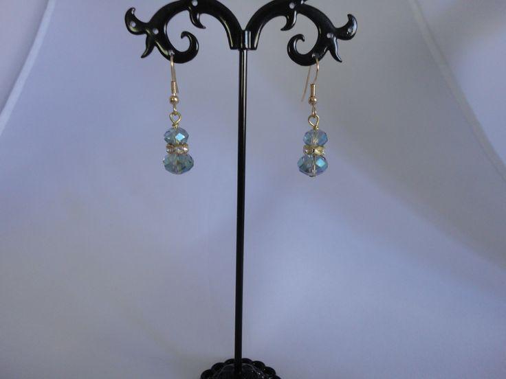 Mint green crystal flower earrings