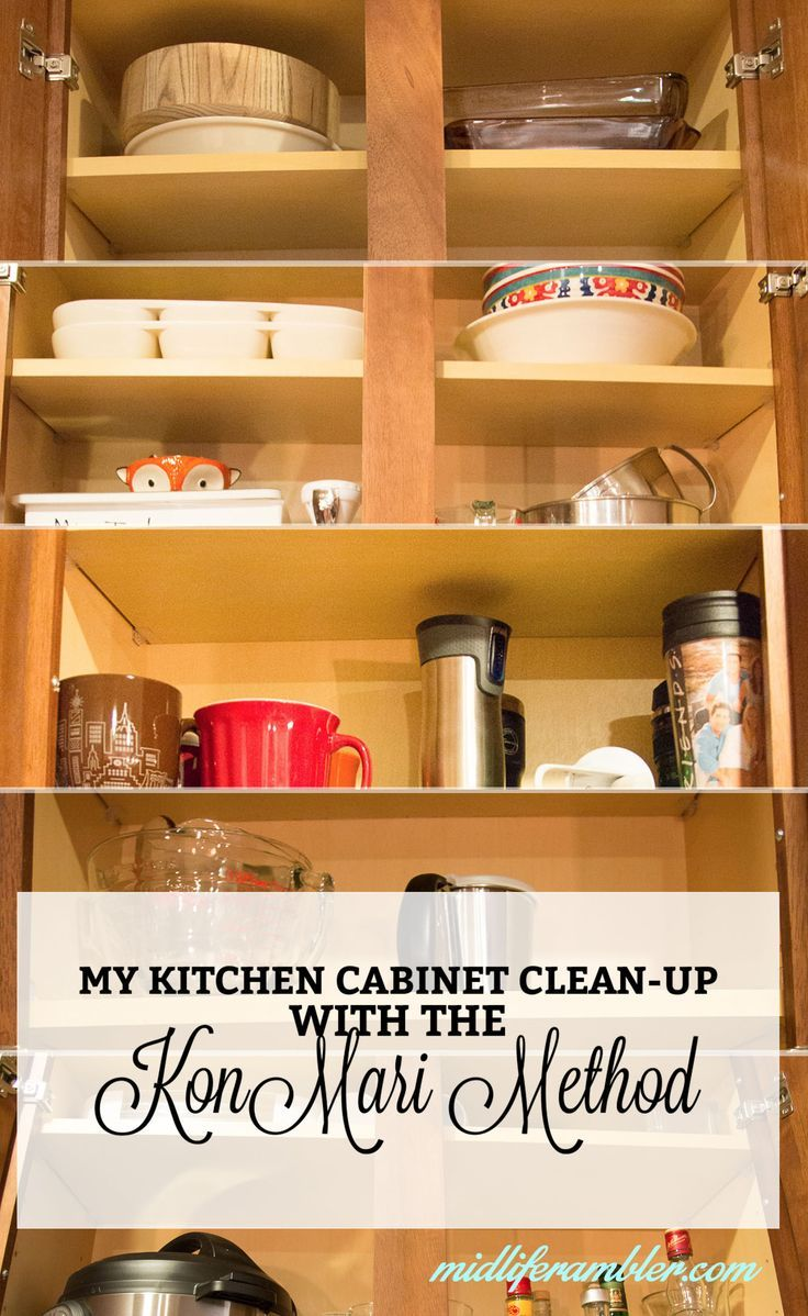 I'm using Marie Kondo's KonMari method to totally reorganize my kitchen. Here's a sneak preview into my kitchen cabinets and how using the concept of sparking joy, minimizing and keeping things close has made things so much better in my kitchen.