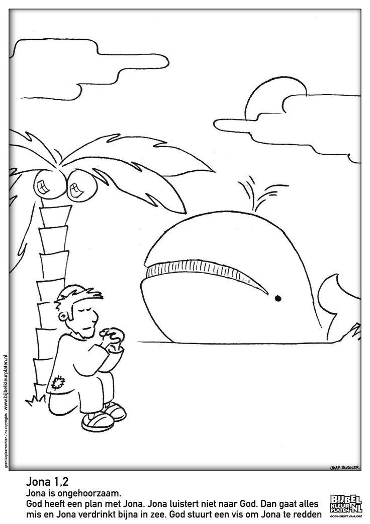 jona en de vis bijbel kleurplaten kleurplaten