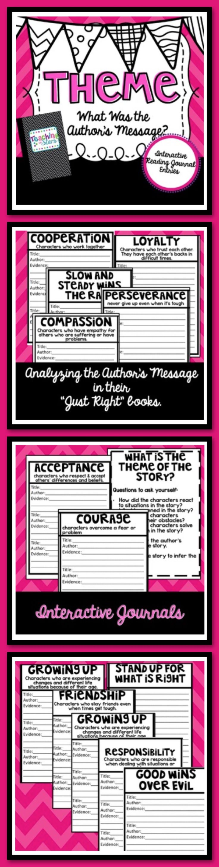 Theme: Interactive Reading Journal Entries are graphic organizers that students can use to categorize the books they are reading by theme. Students can use the common themes to decide what the theme is for the book they are reading. Students have to state their evidence of why they feel their book fits the theme.