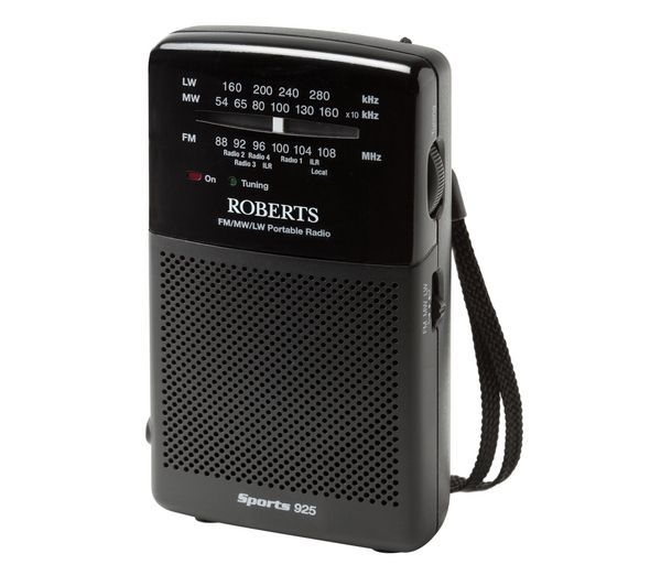 ROBERTS  Sports925 3-Band Portable Analogue Radio - Black, Black Price: £ 14.99 The Roberts Sports925 3-Band Portable Analogue Radio is a compact handheld radio, perfect for enjoying any sporting event. With FM/MW and LW tuning with a functional dial tuning system and LED tuning indicator, the Roberts Sports925 will keep you up to date with all the latest scores whilst you are out and about....