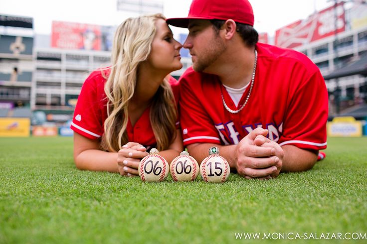 Texas Rangers engagement session photos with baseball save the date
