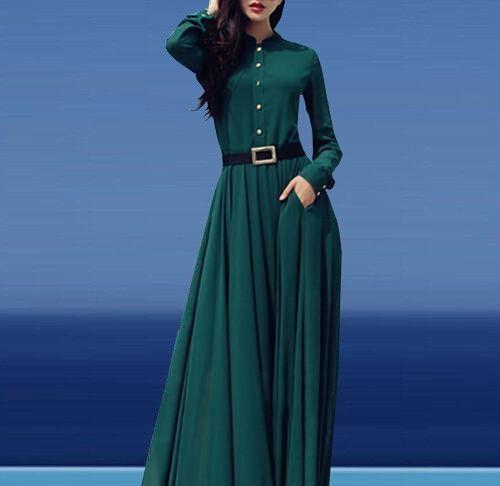 Novo estilo verão 2015 mulheres verde elegante Maxi Dress manga comprida O pescoço retalhos do Vintage fino partido vestido longo Vestidos em Vestidos de Moda e Acessórios no AliExpress.com   Alibaba Group