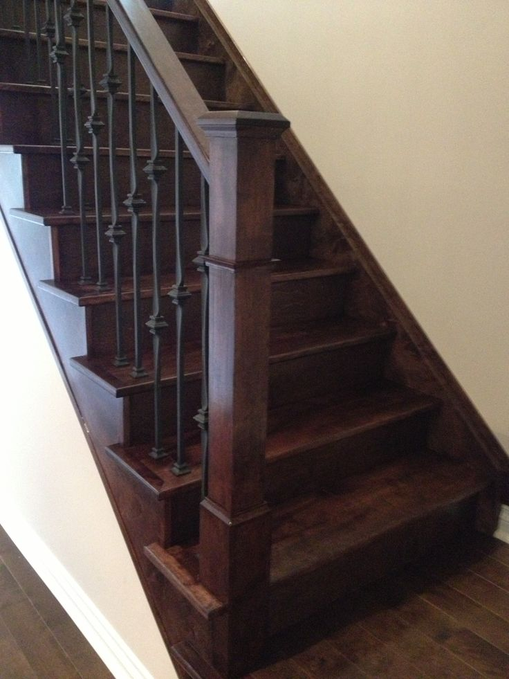 Best Straight Stairs Rails And Post In Dark Stain Custom 400 x 300