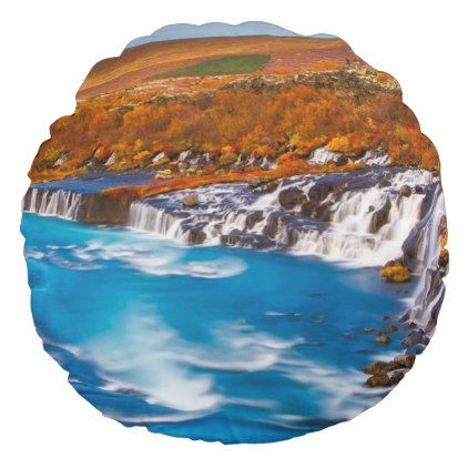Water flow in Iceland Europe Round Pillow - fall decor idea diy cyo