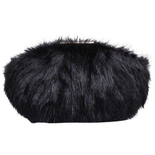Carvela Glory Faux Fur Clutch Bag ($72) ❤ liked on Polyvore featuring bags, handbags, clutches, black, faux fur purse, chain strap purse, hand bags, evening handbags clutches and man bag