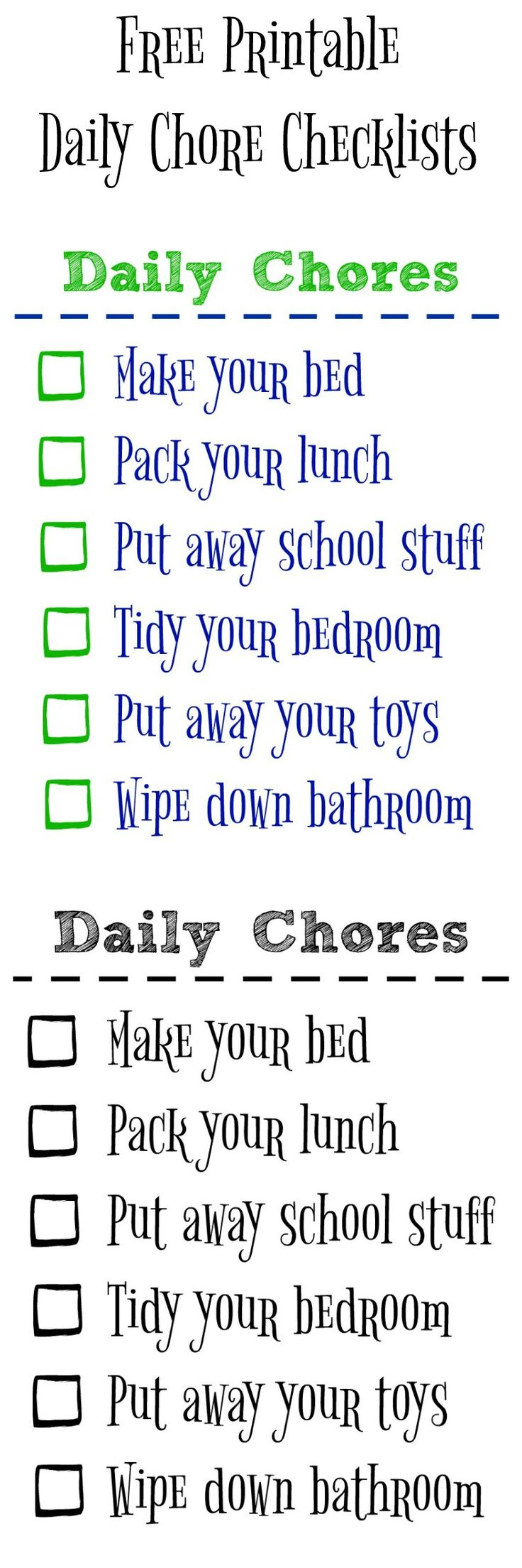 Teaching Kids to be Clean & Organized with a Free Printable Chore Checklist - The Happy Housie #ad #ilovegreenworks