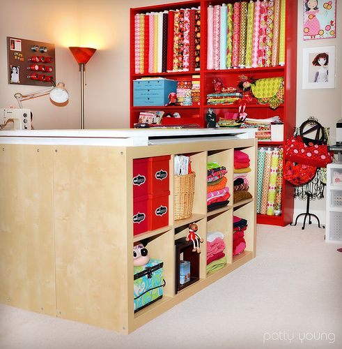 Two IKEA bookcases together make a work table. GREAT!Living Room Design, Cutting Tables, Room Ideas, Ikea Hacks, Sewing Crafts Room, Sewing Rooms, Sewing Studio, Craft Room Design, Craft Rooms