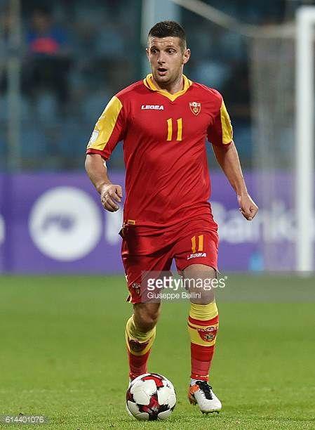 Fatos Beciraj of Montenegro in action during the FIFA 2018 World Cup Qualifier between Montenegro and Kazakhstan at Podgorica City Stadium on October...