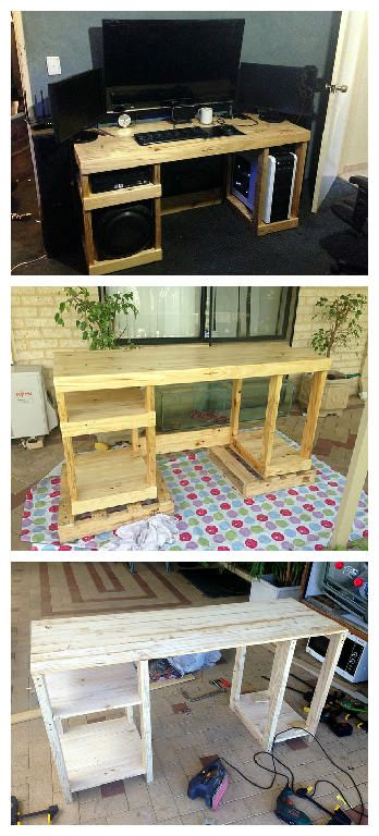 #Office, #PalletDesk, #ReclaimedPallet A sturdy desk built with shelves sized to suit my essential computer hardware.
