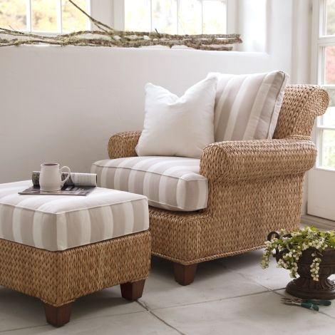 Love the fact that footstools can double as a coffee table. Perfect furniture for the conservatory!