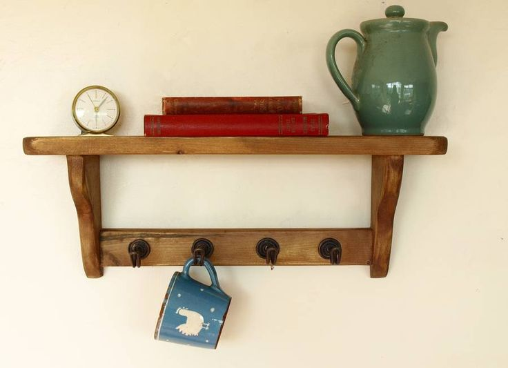 Unpainted Kitchen Shelf With Cup Hooks