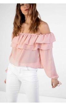 Light Dusty Pink Bardot Top