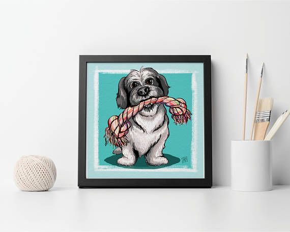 Description: SHIH TZU and ROPE - Best Friends FURever illustration series This is an 8.5 x 8.5 GICLEE PRINT of an illustration completed by Billi French This art piece was completed digitally using Photoshop DONATION For every print sold, I will donate $5 to my fave animal rescue: BestFriends.org to help save/rescue as many needy animals as possible http://bestfriends.org/  Printing: Final print is printed on art quality Hammermill Digital cover 80 lb Paper using an Epson ...
