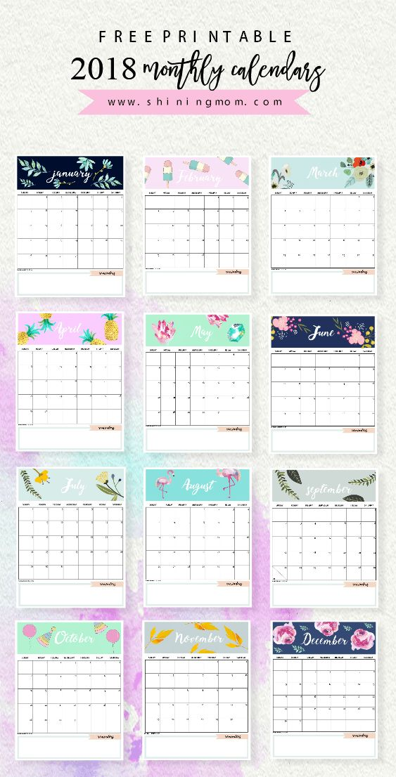Use this calendar 2018 printable to plan your year ahead! Each 2018 monthly calendar comes cute and lovely!