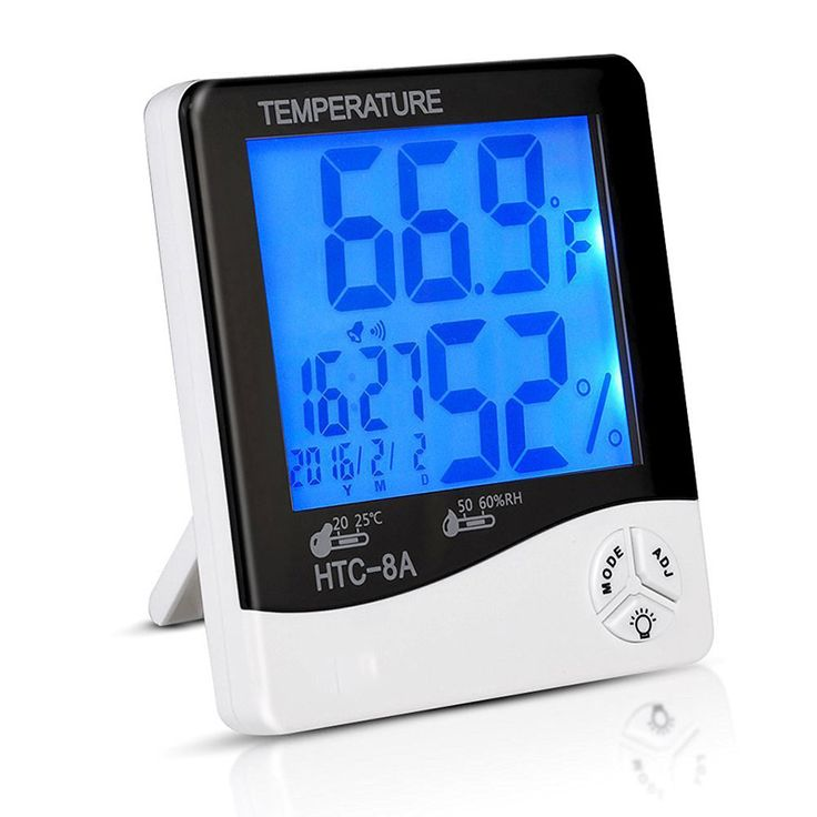 LCD Night Light Indoor Humidity Monitor Temperature Sensor Hygrometer Thermometer with Date Time Alarm Clock J2Y