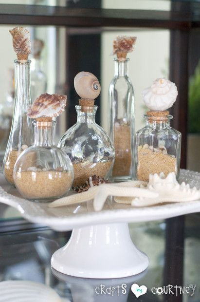 Decorative Beach Seashell Bottles: Finishing Touches