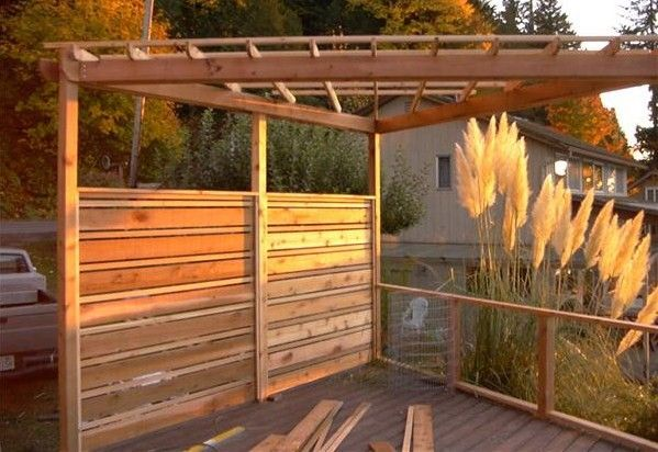 24 best deck ideas images on pinterest backyard ideas for Hanging privacy screens for decks