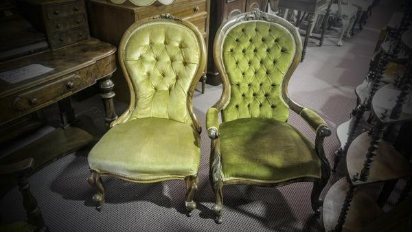 GA1158   -   Victorian cedar gentleman and ladies parlour chairs c1870