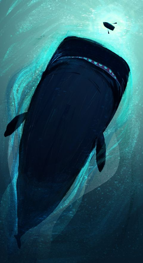 The Whale by Kyle McQueen- An example of interpenetration with the light area or water surrounding the dark whale and the tiny dark boat on the lighter area of water.