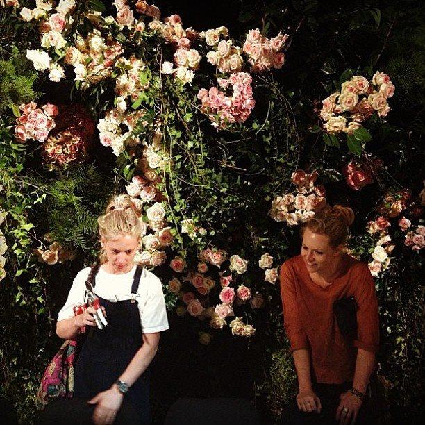 grandiflora's Grace Morley & Saskia Havekes amongst their beauty #latergram #grandiflora #floralwall #events #weddings www.grandiflora.net
