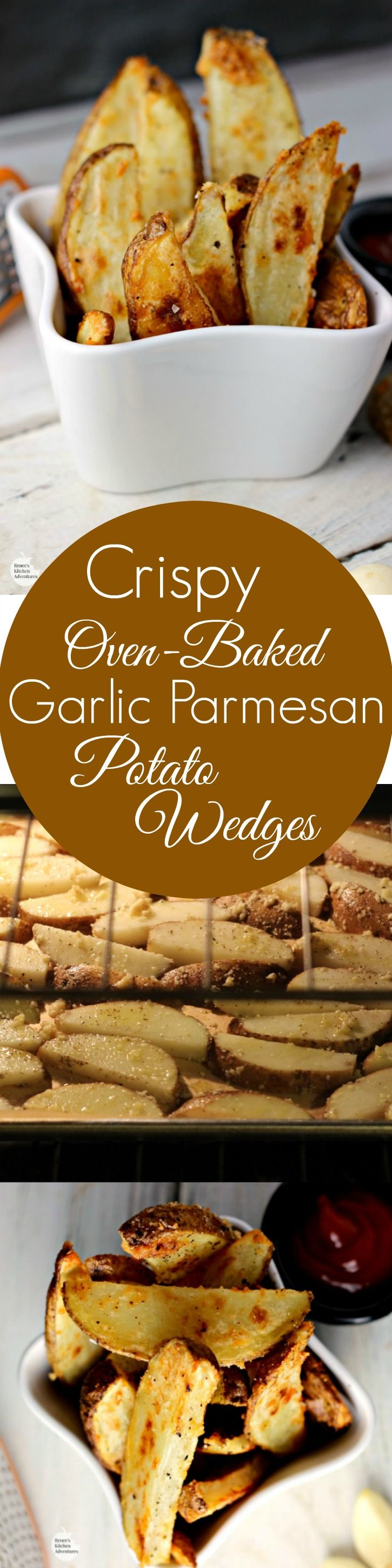 Crispy Oven-Baked Garlic Parmesan Potato Wedges | by Renee's Kitchen Adventures - A healthy side dish with a secret for perfectly crispy oven potatoes! Crunchy on the outside and fluffy on the inside!