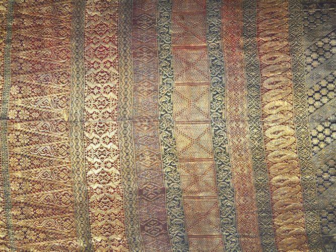 Elegant Pattern. Minangkabau Songket. Silk with gold wrapped cotton threads.  West Sumatra, Indonesia.