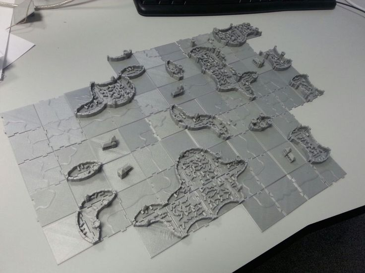 3D printed Carcassonne game tiles