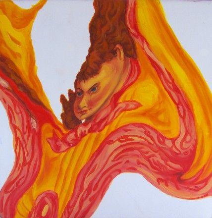 """""""Our Liquid Children (detail)"""" – Oil on wooden boxes 8 x 8 x 8″ (2008) nickhelton.com"""