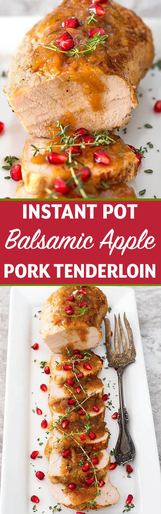 Instant Pot Balsamic Apple Pork Tenderloin is a delicious quick meal cooked in your electric pressure cooker. It tastes like a gourmet dish! simplyhappyfoodie.com #instantpotrecipes #instantpotporktenderloin #instantpotpork