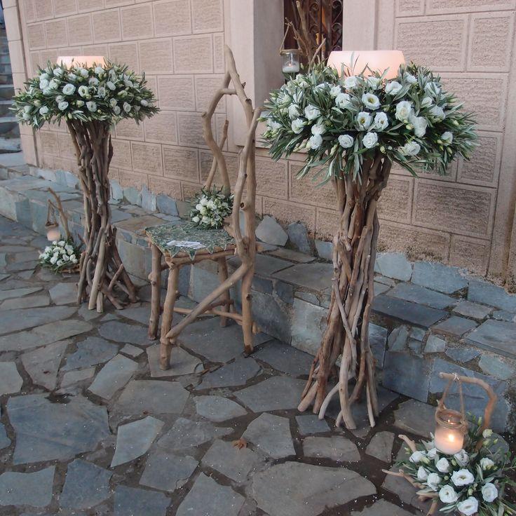λαμπάδες με λυσίανθο και φύλλωμα ελιάς...Δεξίωση | Στολισμός Γάμου | Στολισμός Εκκλησίας | Διακόσμηση Βάπτισης | Στολισμός Βάπτισης | Γάμος σε Νησί & Παραλία.