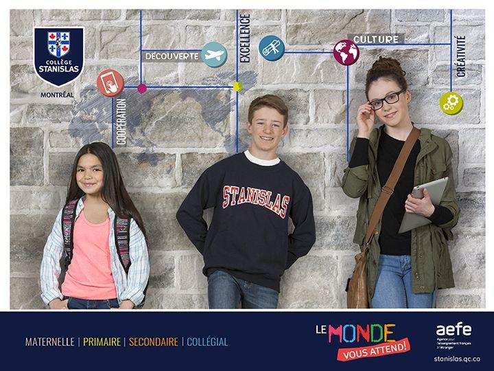 Couverture de la nouvelle brochure du Collège Stanislas de Montréal par Maestro Communications. Photos par Robert Guèvremont.