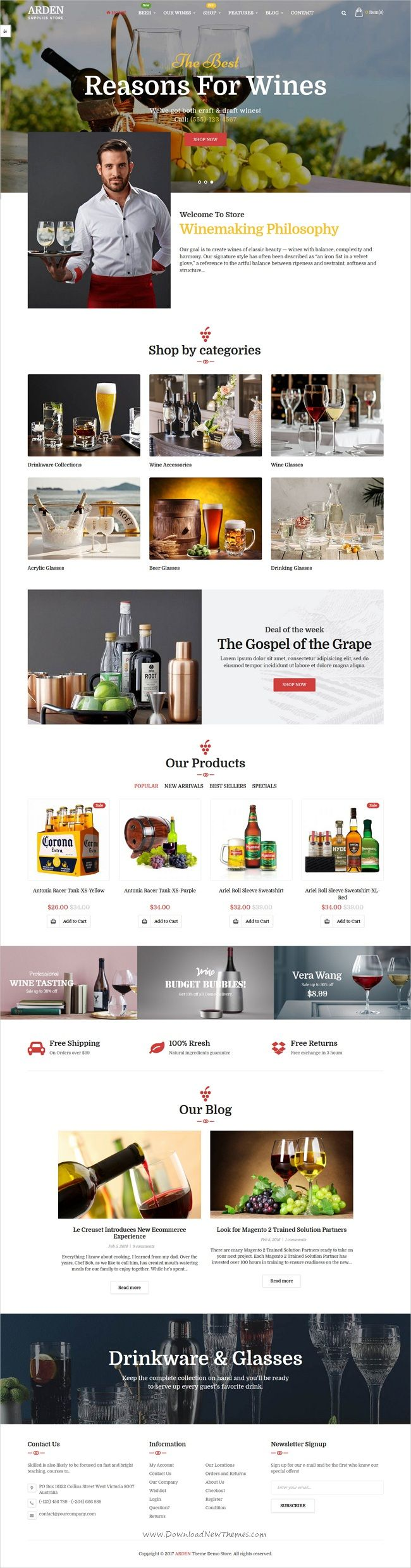 Arden is clean and modern design 5in1 responsive #Magento theme for #winery store stunning #eCommerce website with page builder download now..
