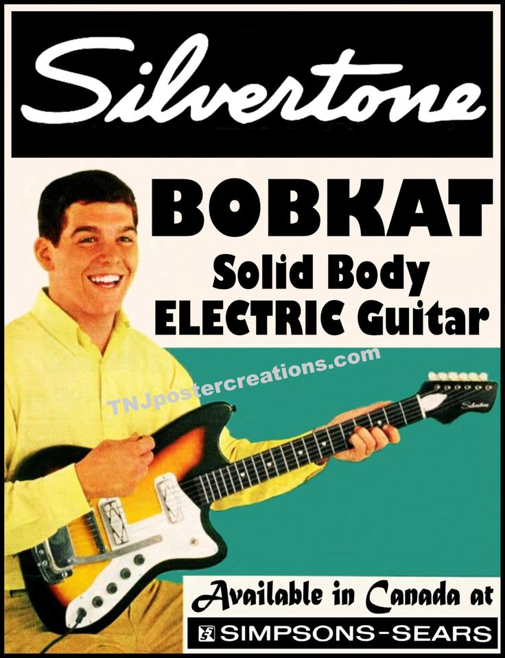 Silvertone Bobkat Electric Guitar Poster by MyGenerationShop on Etsy