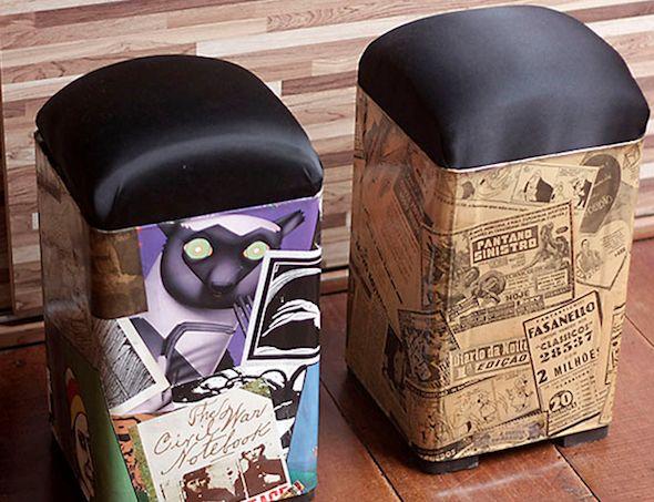 Como produzir um prático banco com lata de tinta, que acaba sempre sobrando após a pintura da casa, e que você ainda não tinha um bom jeito de reaproveitar.