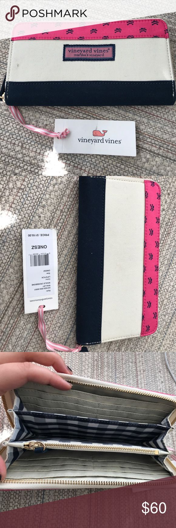 NWT Vineyard Vines Wallet New with tags Vineyard Vines accordion wallet. Includes 16 credit card slots, 2 money slots, and 1 zipper pouch. Great gift, at a great price; retails for $118. Vineyard Vines Bags Wallets