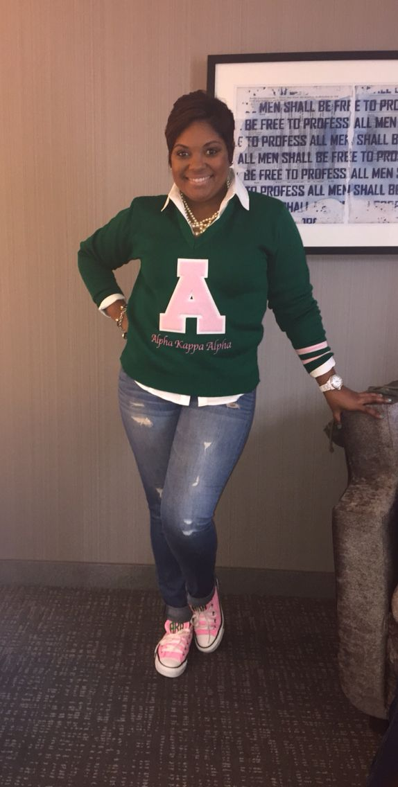 AKA Very cute, Soror! I want that sweater now and some pink Chucks or green. Of course!