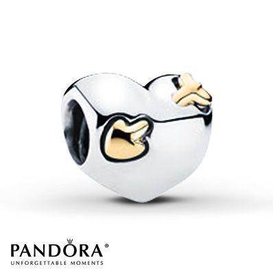 Pandora Heart Charm Sterling Silver/14K Gold