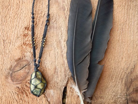 Handcrafted Serpentine Stone Macrame Wrapped Necklace.