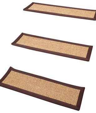 """""""Casual Living"""" Carpet Stair Treads, 100% Sisal, 9"""" x 29"""" (Set of 4) transitional-stair-tread-rugs"""