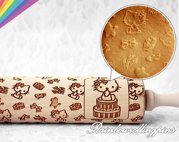Hello kitty pattern,Engraved rolling pin,Hello Kitty cookies,Hello Kitty cookie,Rolling pin,rolling pins,cute by RainbowRollingPins on Etsy https://www.etsy.com/listing/249612292/hello-kitty-patternengraved-rolling