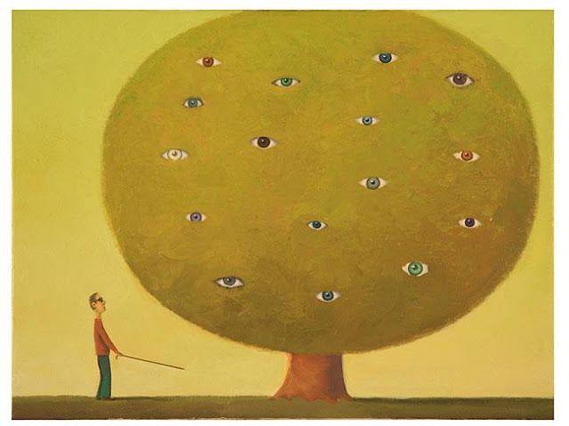 """POESIE SULL'ALBERO: Un tempo gli alberi avevano occhi (Ana Blandiana) L'albero degli occhi"""" di Guido Pigni anno 2007 -Acrilico su carta e su tela cm 40x30-"""