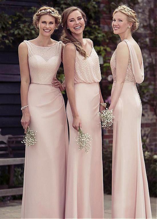 Buy discount Romantic Chiffon Bateau Neckline Floor-length Sheath Bridesmaid Dresses With Beadings at Laurenbridal.com