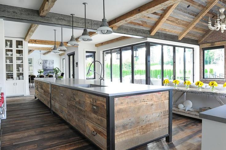appealing reclaimed wood kitchen island | 547 best Kitchens images on Pinterest | Interiors, Kitchen ...