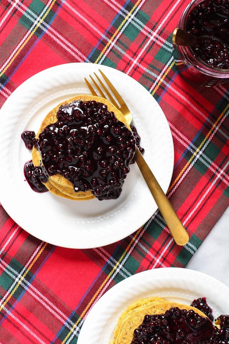 Lemon Poppy Seed Cornmeal Pancakes with Blueberry Compote - vegan & gluten free