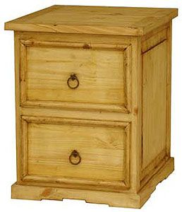 This fabulous little pine file cabinet features two legal-sized file drawers with rustic, beveled fronts. Southwestern styling around the bottom complements any home or office decor. Hand crafted in Mexico.
