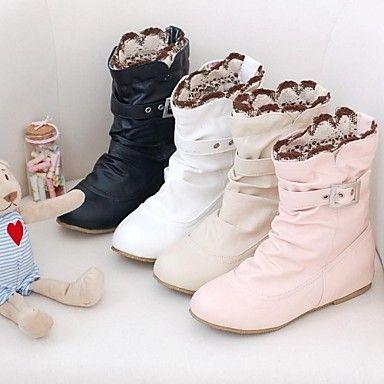 Kozačky+-+Koženka+-+Módní+boty+/+Kulatá+špička+-+Dámská+obuv+-+Černá+/+Růžová+/+Bílá+/+Béžová+-+Šaty+-+Nízký+podpatek+–+USD+$+19.59