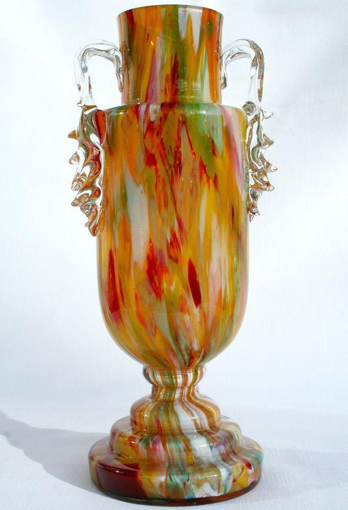 Stunning Art Deco Czech Cased Colourful Spatter Glass Trophy Vase Franz Welz A1