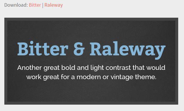 bitter / raleway google font combo
